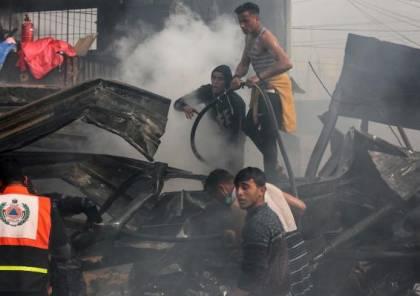 صور.. اندلاع حريق في مخبر اليازجي بحي تل الهوى غرب مدينة غزة