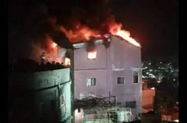 احتراق منزل بمخيم العروب شمال الخليل (صور وفيديو)