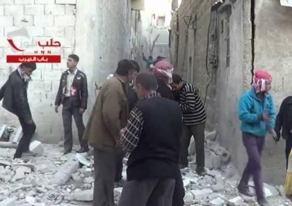 """فيديو ..40 شهيدا وجريحا فلسطينيا في قصف جبهة النصرة لمخيم اللاجئين """"النيرب"""" في ذكرى النكبة"""