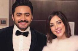 """""""عطر فرنسي"""" يحمل توقيع تامر حسني وزوجته في عيد الحب"""