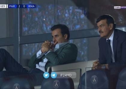أمير قطر يخطف الأنظار في موقعة ريال مدريد وسان جيرمان (فيديو وصور)