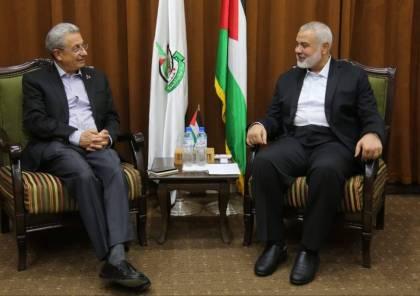 هنية يستقبل وفد حركة المبادرة الوطنية برئاسة البرغوثي بغزة