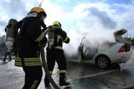 الدفاع المدني يخمد حريقاً في مركبة بجنين