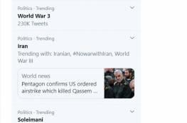 """نصف مليون تغريدة عن """"حرب عالمية ثالثة"""" بعد مقتل سليماني"""