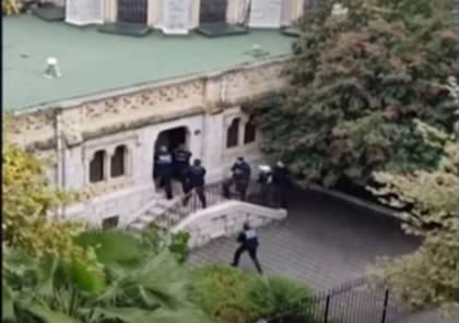 شاهد لحظة إطلاق النار داخل كنيسة بمدينة نيس الفرنسية بالتزامن مع حادثة الطعن