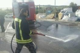 السيطرة على حريق مركبة شحن تجاري في برقين