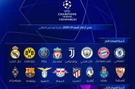 نتيجة قرعة دور 16 في دوري أبطال أوروبا 2020 - 2021