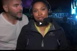 فيديو.. ردة فعل صحافية حاول رجل تقبيلها على الهواء مباشرة!