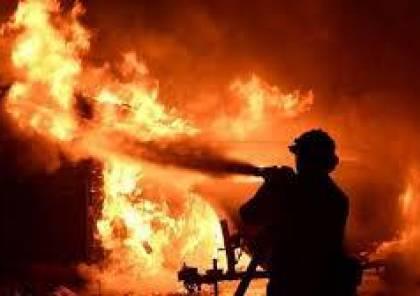 حريق ضخم جنوب شرق جنين
