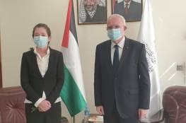 الوزير المالكي يُودع ممثلة الدنمارك لدى فلسطين