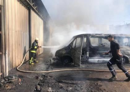 إخماد حريق اندلع بـ ٣ مركبات في جنين