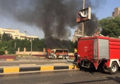 انفجار سيارة في أحد شوارع حي الدقي في القاهرة