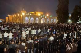 نحو 70 ألف مصل يؤدون العشاء والتراويح في رحاب المسجد الأقصى