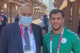 الرجوب يلتقي لاعب الجودو الجزائري فتحي نورين ويثمن موقفه (صور)