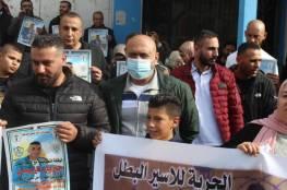 وقفة دعم وإسناد مع الأسير المضرب عن الطعام جبريل زبيدي في جنين
