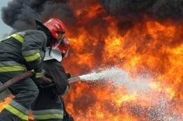 """الدفاع المدني يُخمد حريق اندلع في """"بركس"""" شمال غزة"""