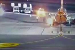 إخلاء طائرة من الركاب بعد احتراق أحد اطاراتها
