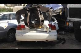 الشرطة تتلف 121 مركبة غير قانونية في طولكرم