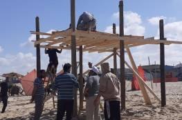 الحكم المحلي: بدء تشييد أبراج الانقاذ البحري في قطاع غزة (صور)