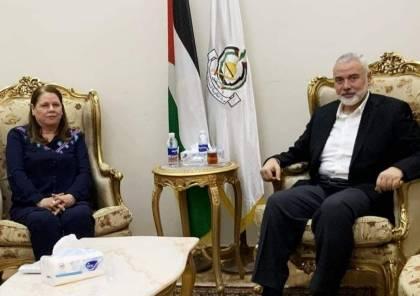 هنية يستقبل زوجة الأسير القائد مروان البرغوثي