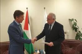 المالكي يتسلم نسخة من أوراق اعتماد ممثل الاتحاد الأوروبي الجديد لدى دولة فلسطين