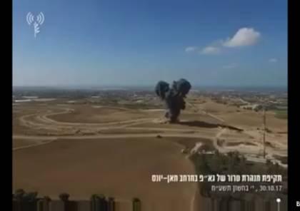 شاهد : الإحتلال ينشر فيديو لاستهداف نفق سرايا القدس بغزة