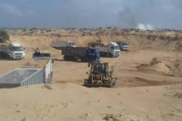 """""""اقتصاد غزة"""" توفر 116 شاحنة رمال بمحافظة الشمال"""