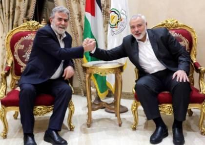 هنية يبحث مع النخالة تطورات القضية الفلسطينية