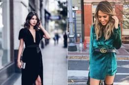 الفساتين القطيفة أحدث صيحات موضة شتاء 2018