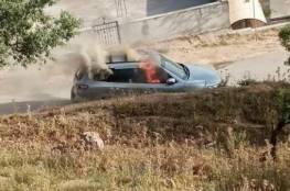 إضرام النار بمركبة يعتقد أنها لمنفذ عملية زعترا عثر عليها في بلدة عقربا