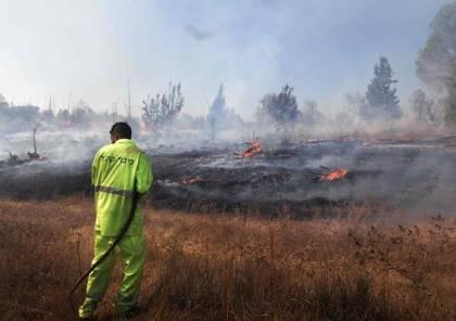 اندلاع 4 حرائق في محيط مستوطنات غلاف غزة جراء البالونات الحارقة