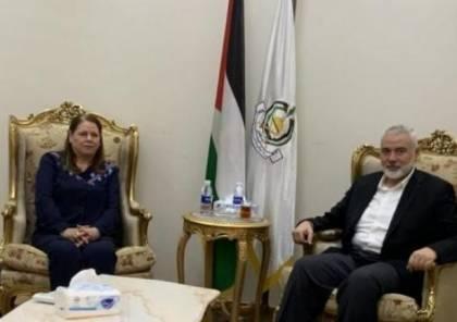 تفاصيل لقاء هنية بزوجة الأسير مروان البرغوثي في القاهرة