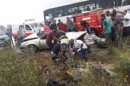 صور: مصرع 3 مواطنين بحادث سير مروع على طريق جنين