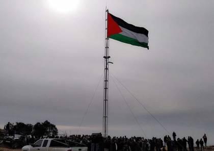 صور.. رفع علم فلسطين فوق منطقة مهددة جنوب نابلس