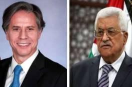 الرئيس عباس وبلينكن يتعهدان بإبقاء خطوط الاتصال مفتوحة على كافة المستويات