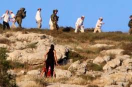 مستوطنون يحرقون مساحات زراعية واسعة جنوب نابلس