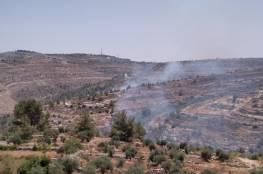 احتراق عشرات الدونمات في جبل الخمّار ووادي المخرور غرب بيت لحم