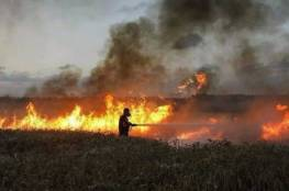حريق في غلاف غزة بفعل بالون حارق