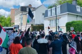 وقفة احتجاجية أمام السفارة الإسرائيلية بالعاصمة بركسل دعمًا لفلسطين