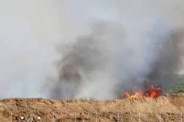 """اندلاع حريق في """"نيريم"""" بفعل بالون حارق أطلق من غزة"""