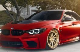 بي إم دبليو M3 حمراء تجذب الأنظار بعجلاتها الذهبية