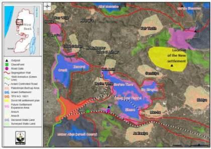 """معهد """"اريج"""" ينشر خريطة تظهر المخطط الاستيطاني شمال الضفة"""