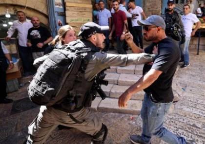 اصابات واعتقالات باعتداء الاحتلال على مسيرة قرب باب العامود منددة بعدوان الاحتلال