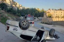 إصابتان جرّاء انقلاب سيارة في مدينة نابلس