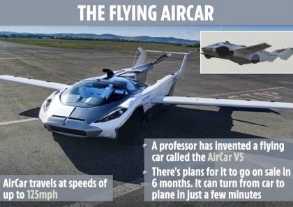 """سيارة مبتكرة تتحول إلى """"طائرة"""" في غضون 3 دقائق ..فيديو"""