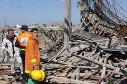بالصور: إصابة 6 مواطنين إثر انهيار سقف أحد المنتجعات بغزة