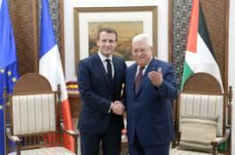 """الرئيس عباس لـ""""ماكرون"""": جادون في السعي لإجراء الانتخابات ونتطلع لاعتراف فرنسا ودول أوروبا بفلسطين"""