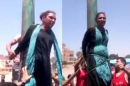 شاهد: مصريّون يعلّقون سيّدةً على عامود إنارة بالشرقيّة