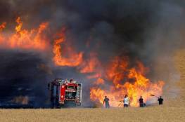 5 حرائق داخل السياج الفاصل شرق قطاع غزة