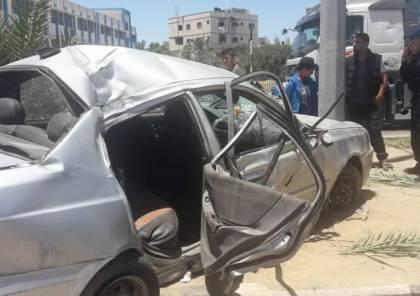 وفاة طفل وإصابة 8 آخرين في حادث مروري على شارع صلاح الدين وسط القطاع